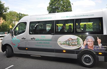 Devonshire Dementia Care home  Fresh Air Drives minibus
