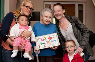 Family visits with out dementia Care residents