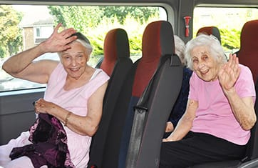 Dementia care residents enjoying a Fresh Air Drives