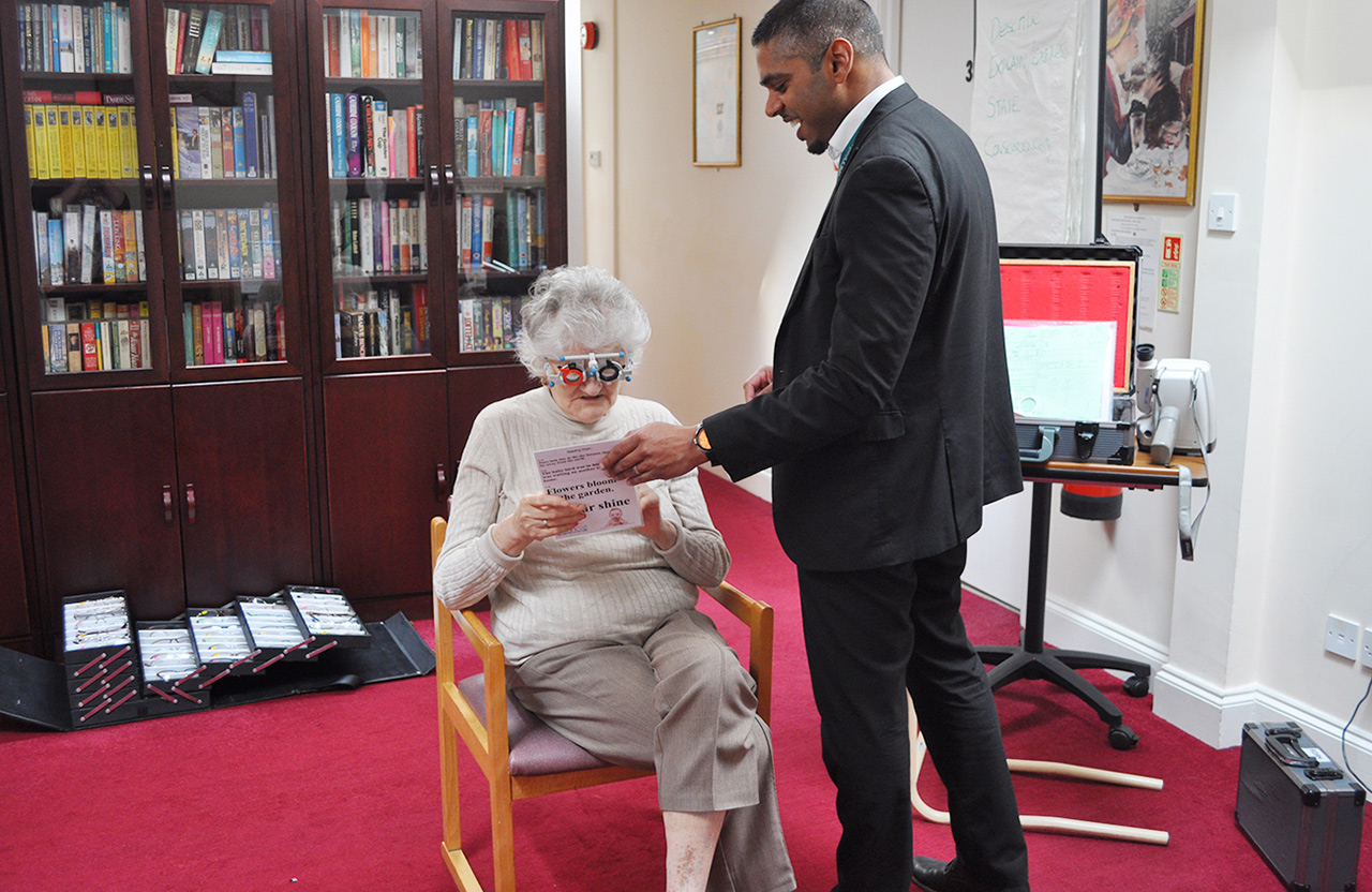 Optician appointment for our Dementia Care residents